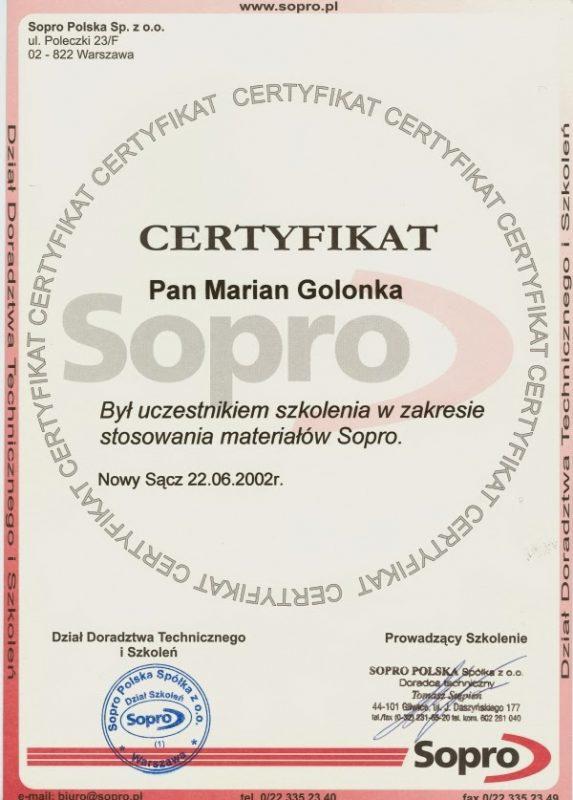 Certyfikat Sopro