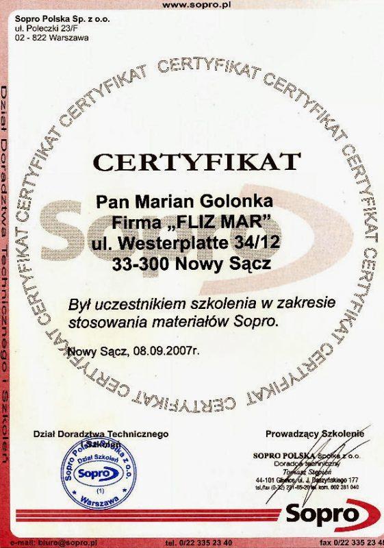 Certyfikat Sopro II