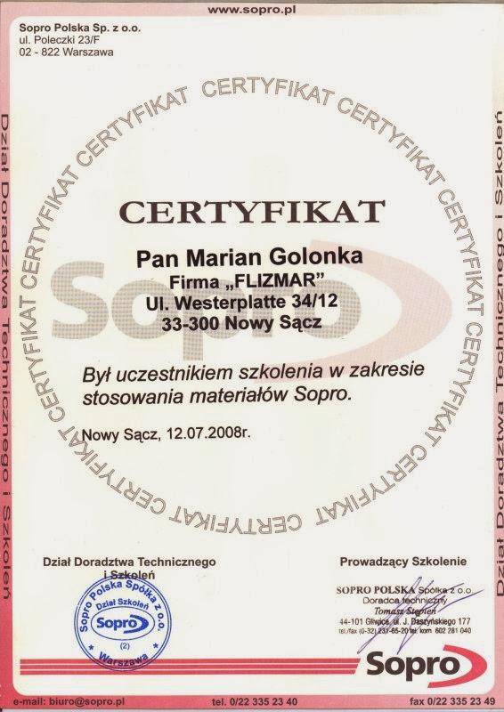 Certyfikat Sopro III