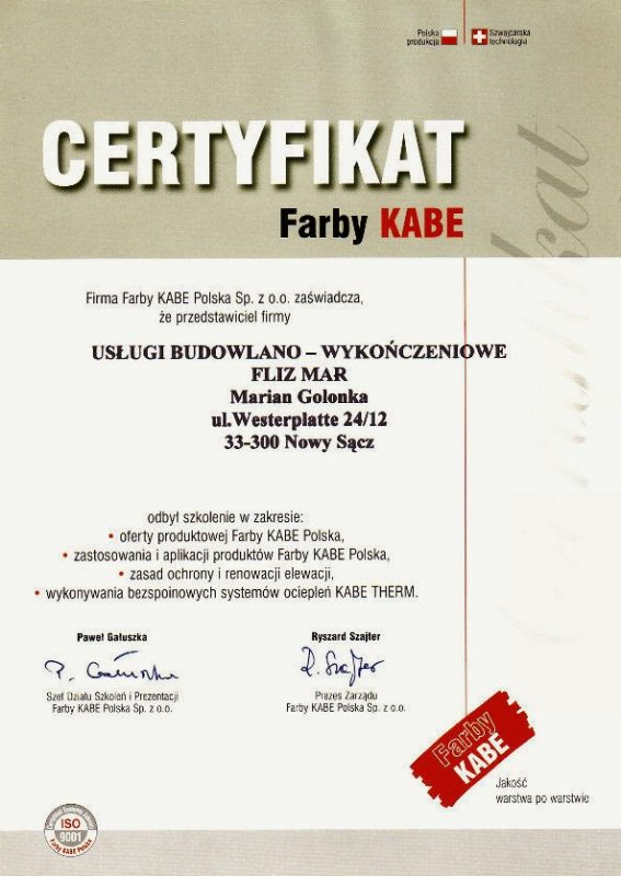 Certyfikat farby Cabe